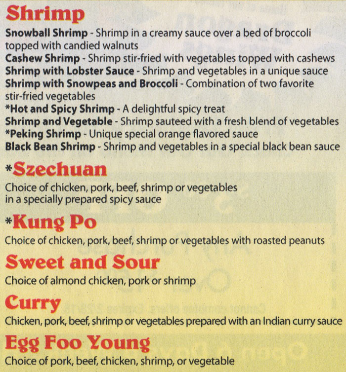 Dragon Diner menu - shrimp, kung po, sweet and sour, curry, egg foo