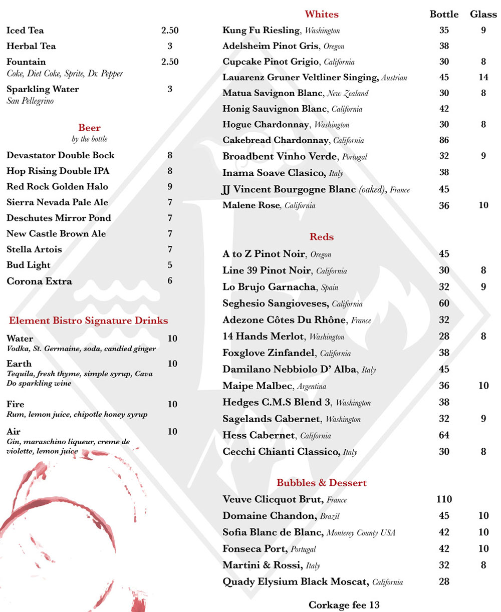 Element Bistro menu - drinks