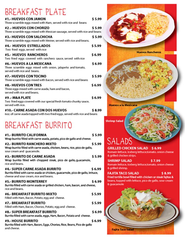 Fajita Grill menu - breakfast plate, burrito