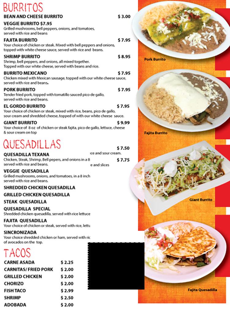 Fajita Grill menu - burritos, quesadillas, tacos
