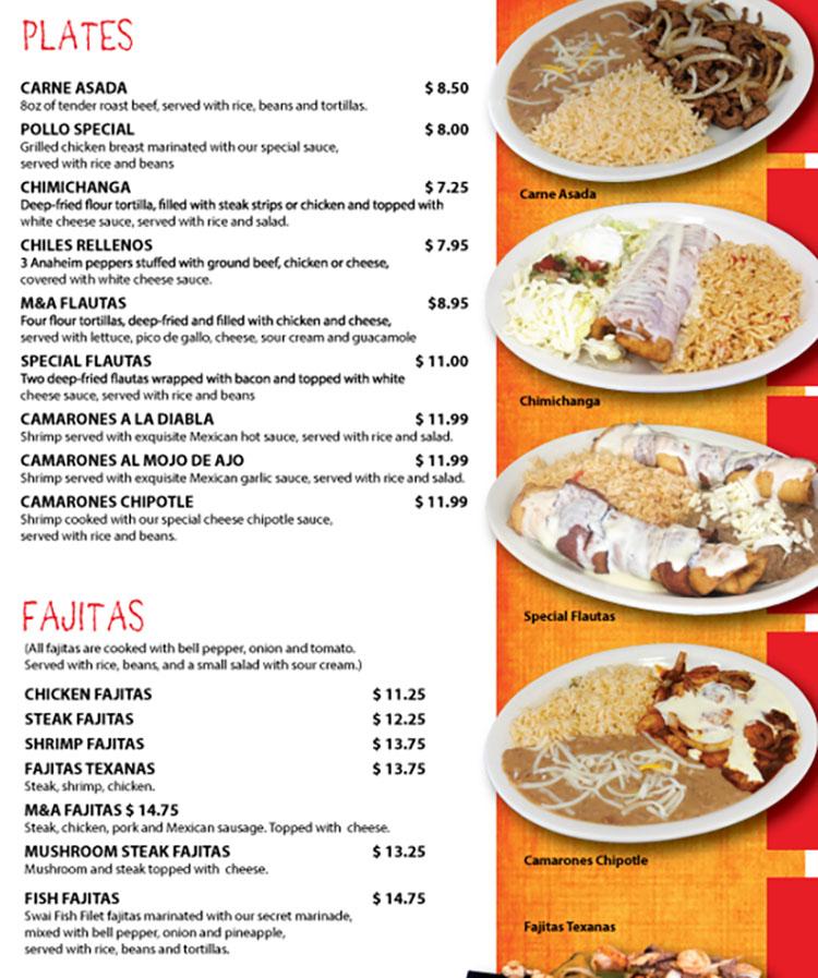 Fajita Grill menu - plates, fajitas