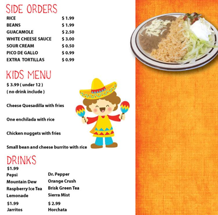 Fajita Grill menu - side orders, kids menu, drinks