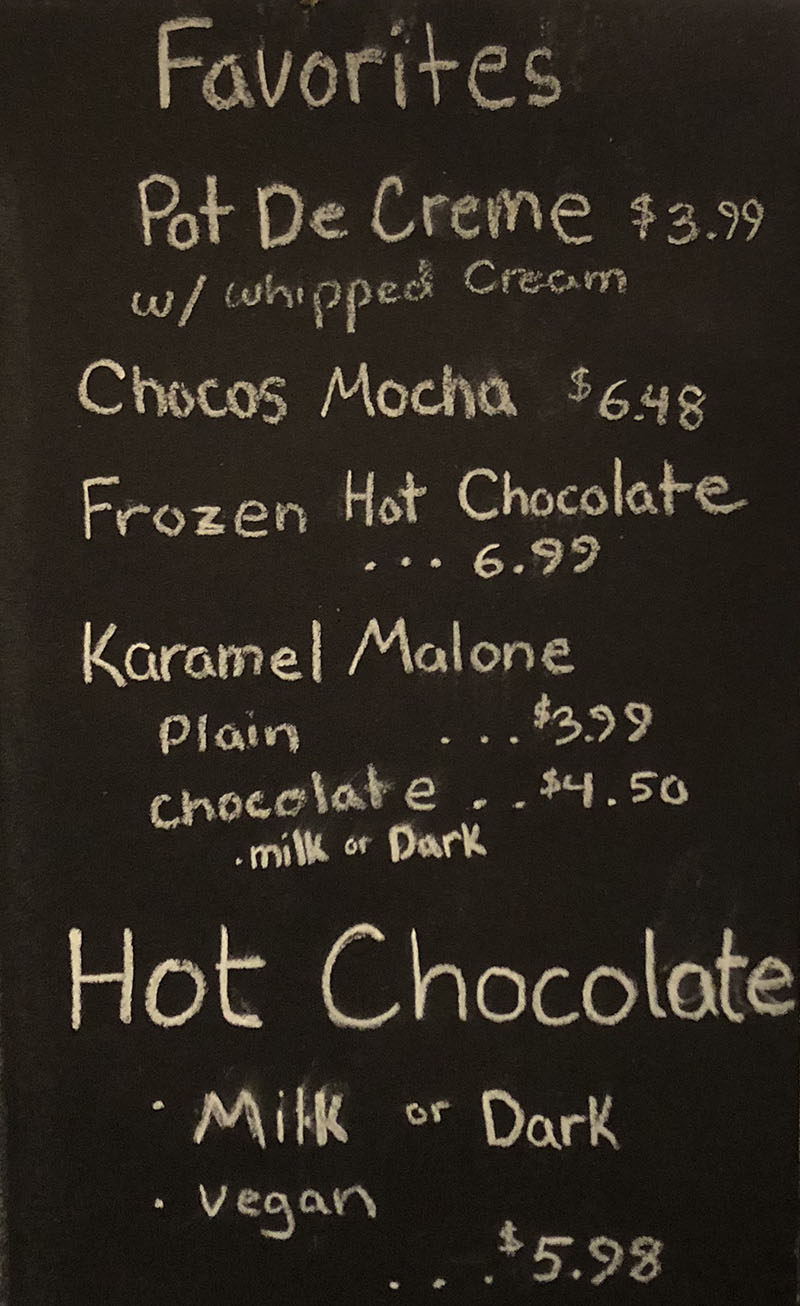 Hatch Family Chocolates menu - favorites