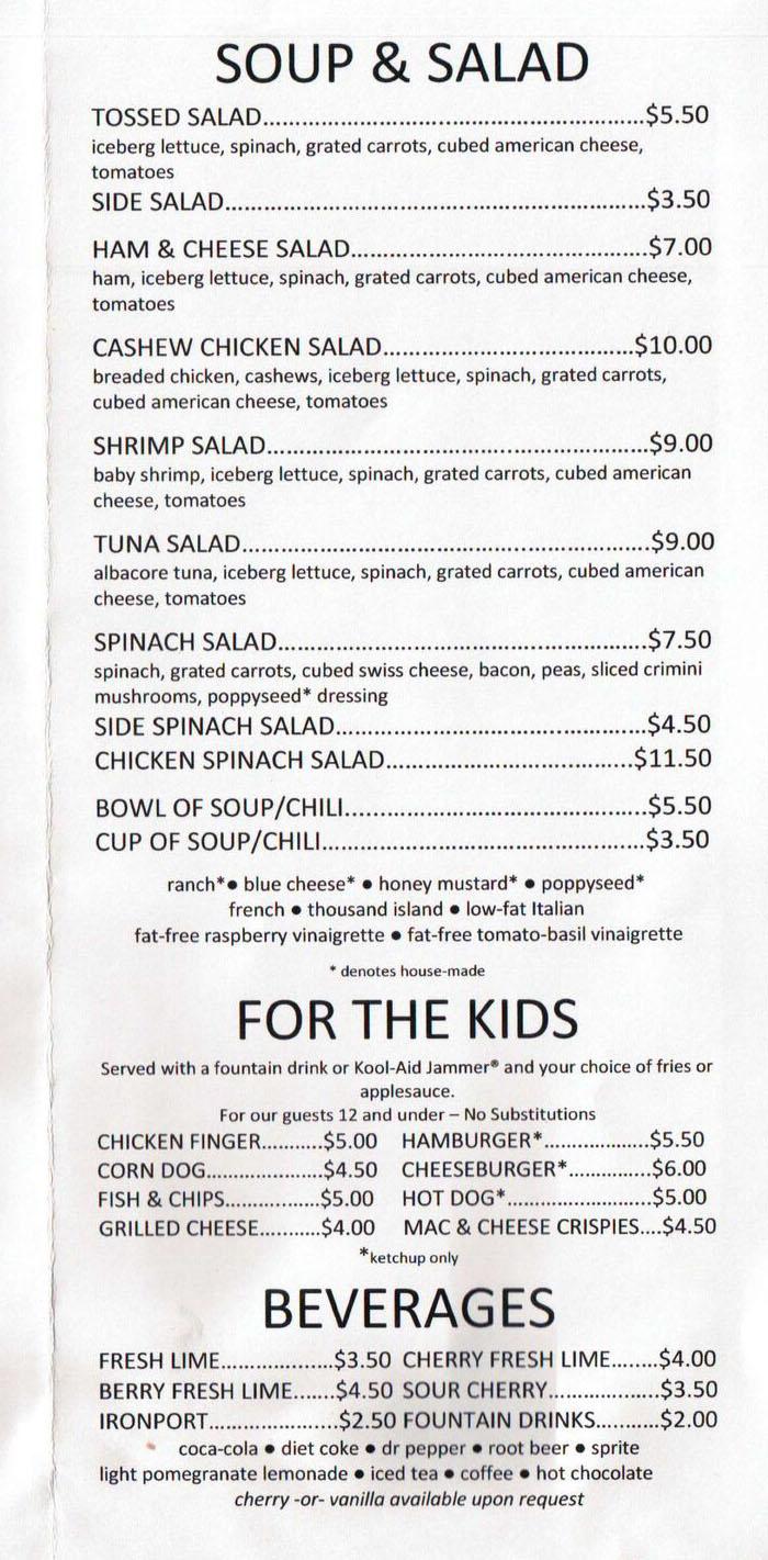 Hi Mountain menu - soup, salads, kids, beverages