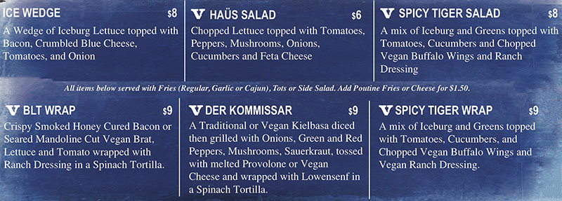 Ice Haus menu - salads, wraps
