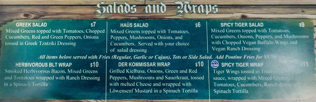 Ice Haus vegan menu - salads and wraps
