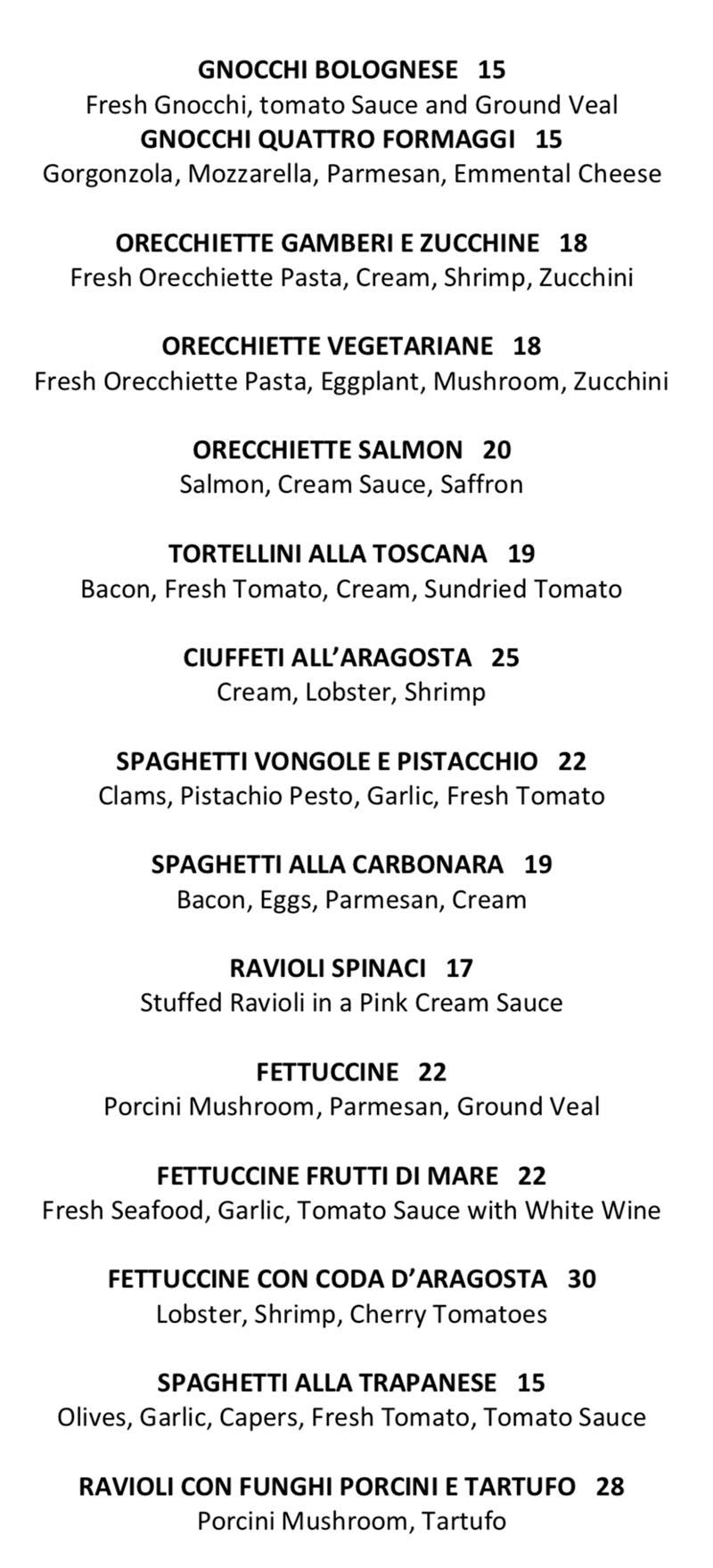 Il Sole menu - pasta