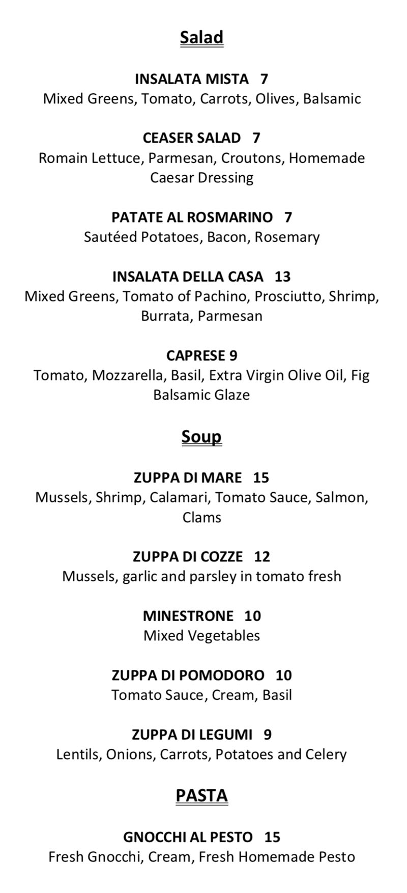 Il Sole menu - salad and soup