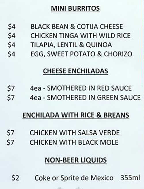 Kiitos Brewing food menu - burritos, enchiladas