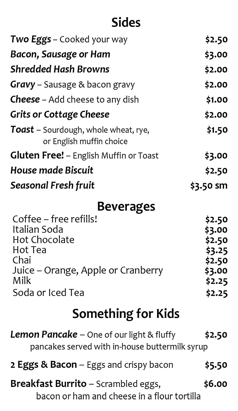 Lazt Day Cafe menu - sides, beverages, kids