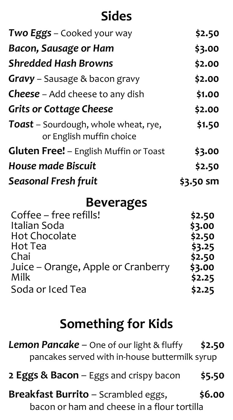 Lazy Day Cafe brunch menu - page three