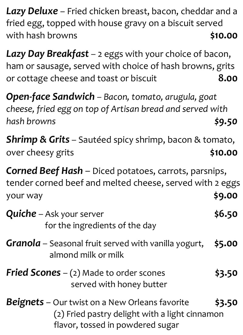 Lazy Day Cafe brunch menu - page two