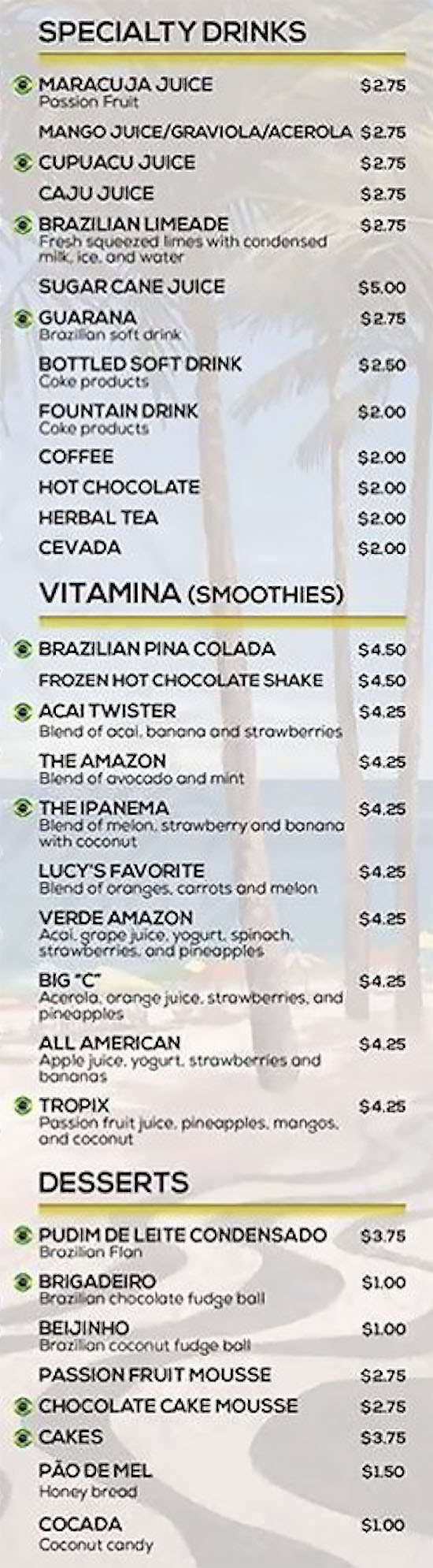 Lucys Brazilian Kitchen menu - drinks, desserts