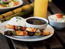 Lucys Brazilian Kitchen - skewers, rice, beans. Credit, Lucys