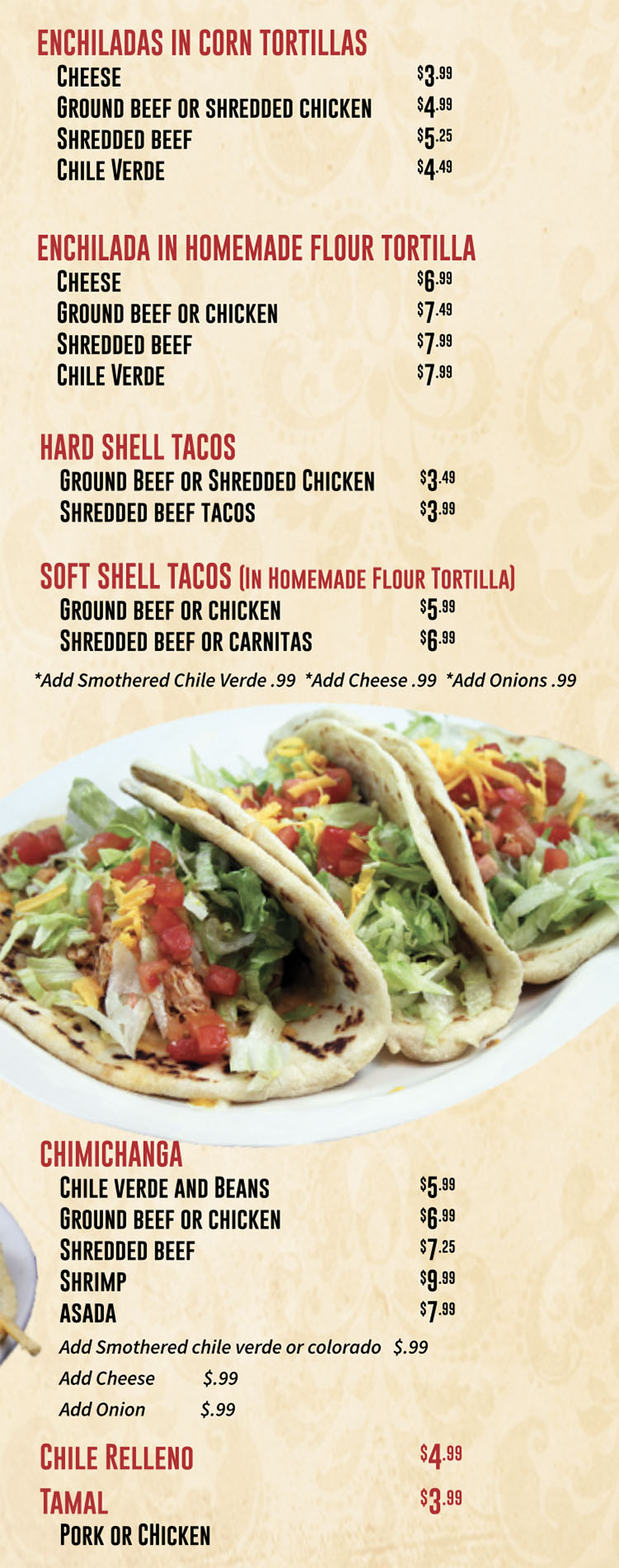 Marias Mexican Grill menu - ala carte continued