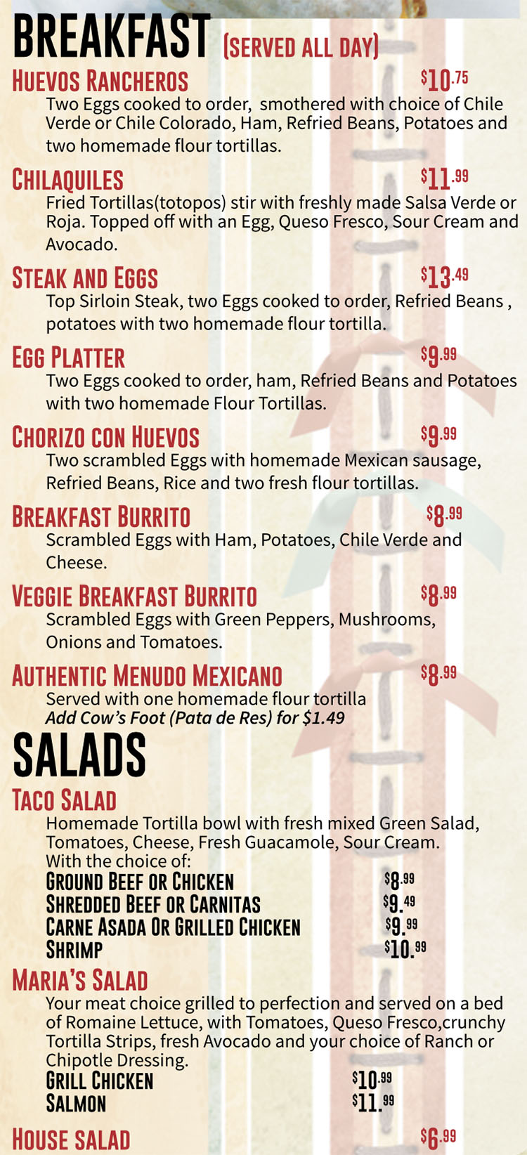 Marias Mexican Grill menu - all day brekfast, salads