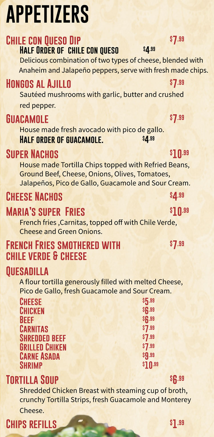Maria S Mexican Restaurant Menu