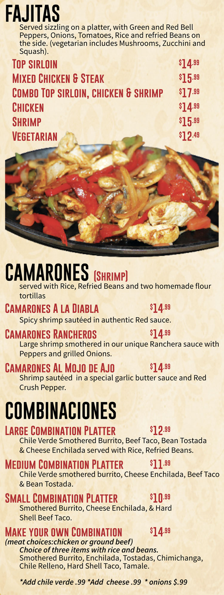 Marias Mexican Grill menu - fajitas, camarones, combinations