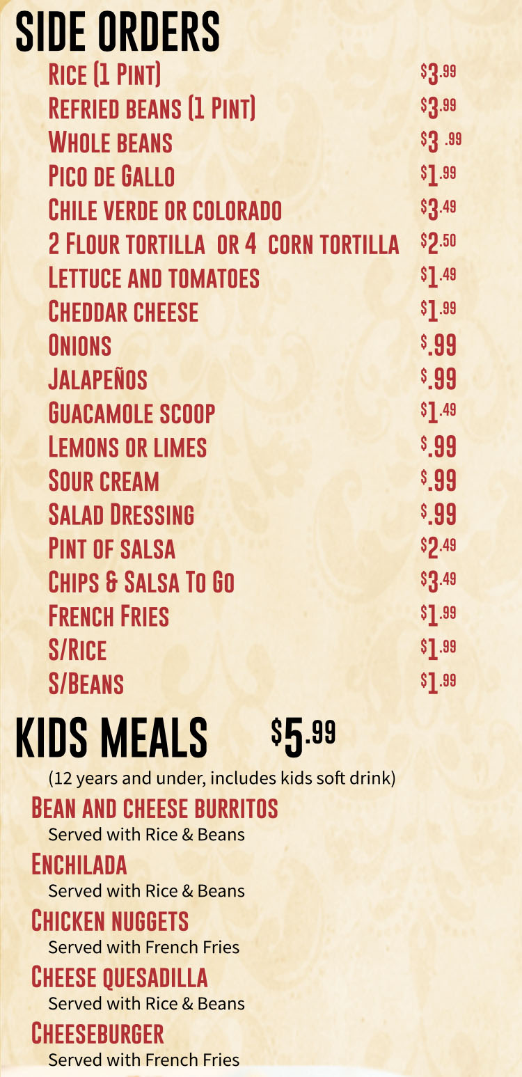 Marias Mexican Grill menu - side orders, kids meals