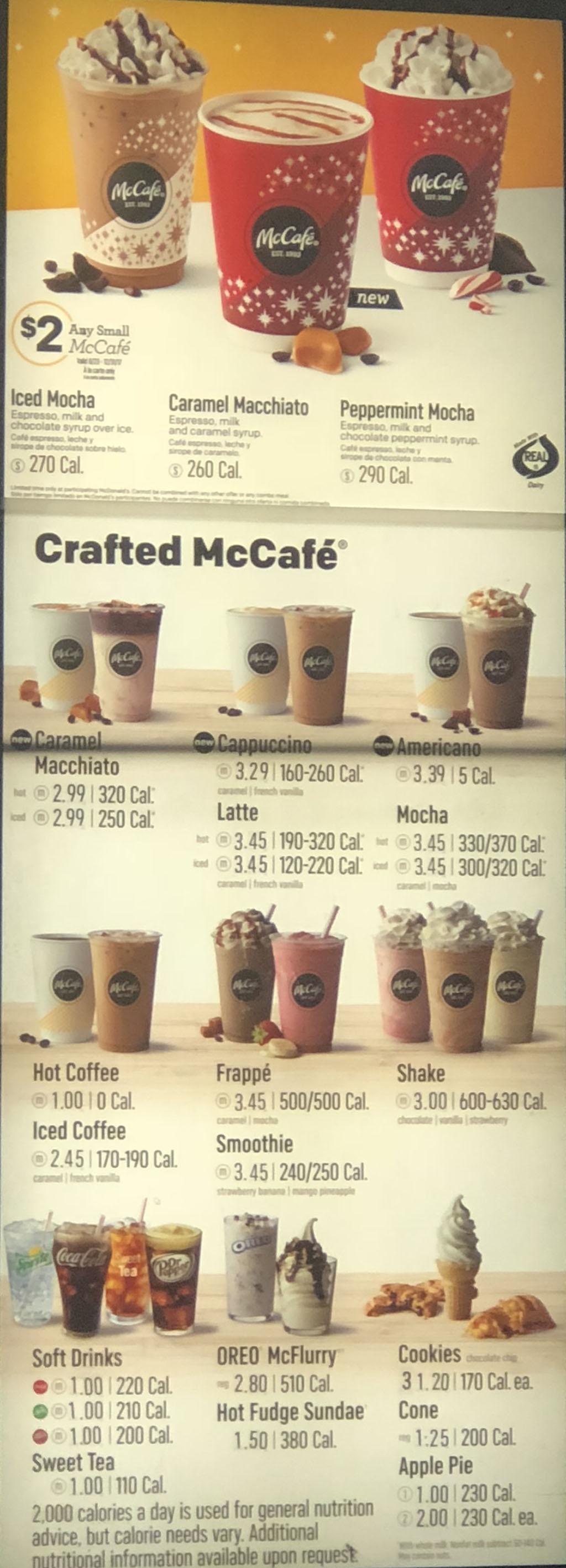 McDonalds menu - beverages