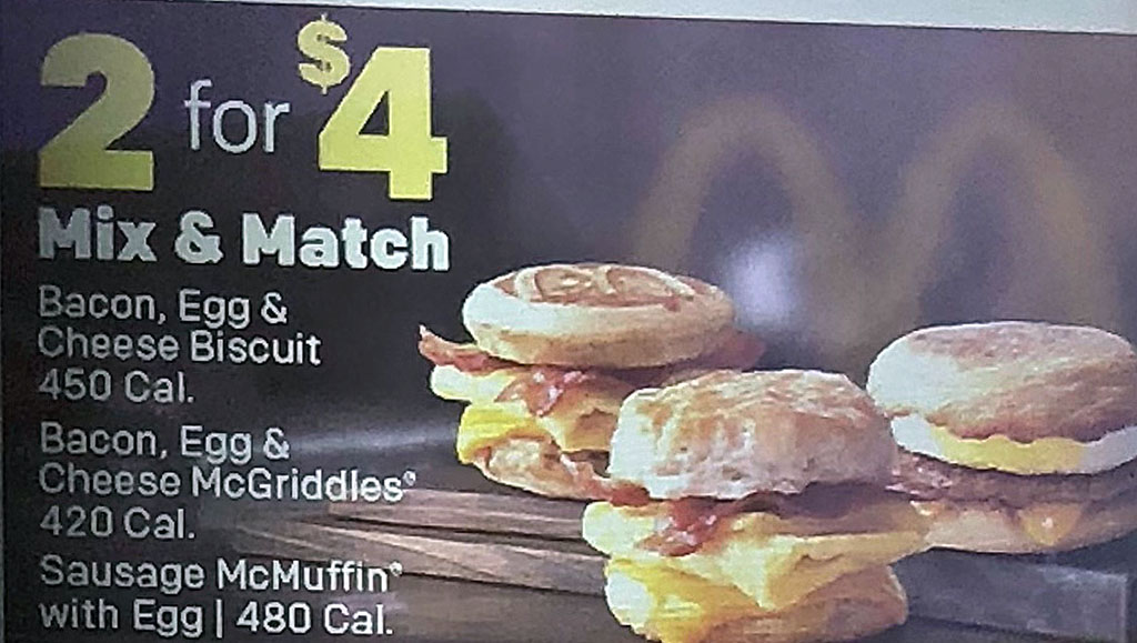 McDonald's menu - mix and match two for four deal
