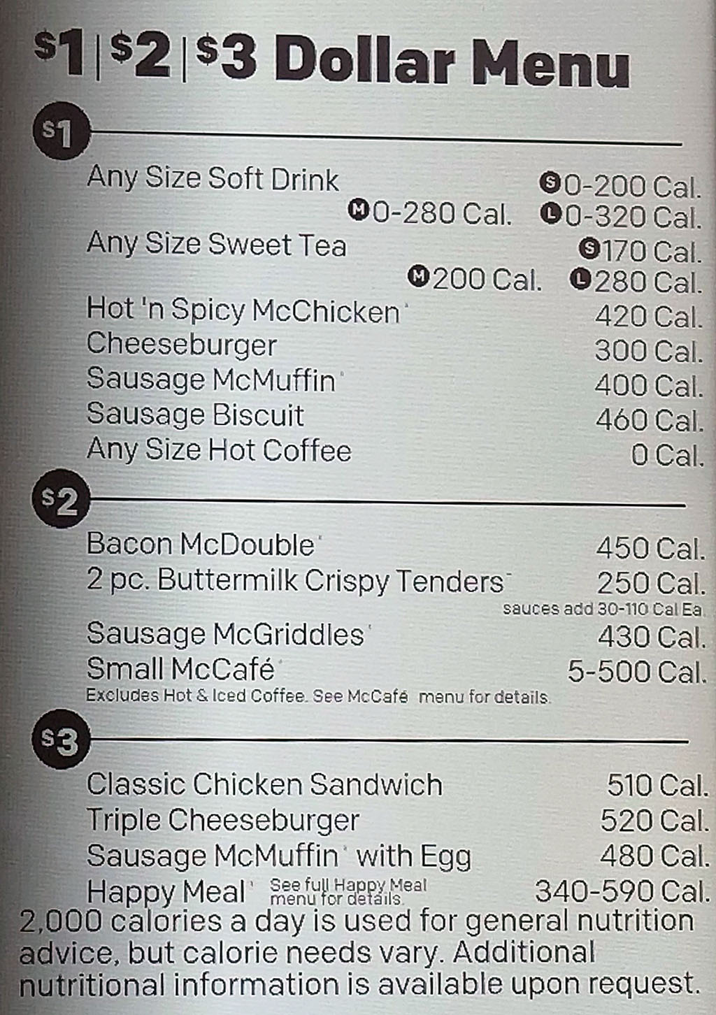 McDonalds's menu - dollar menu, value menu