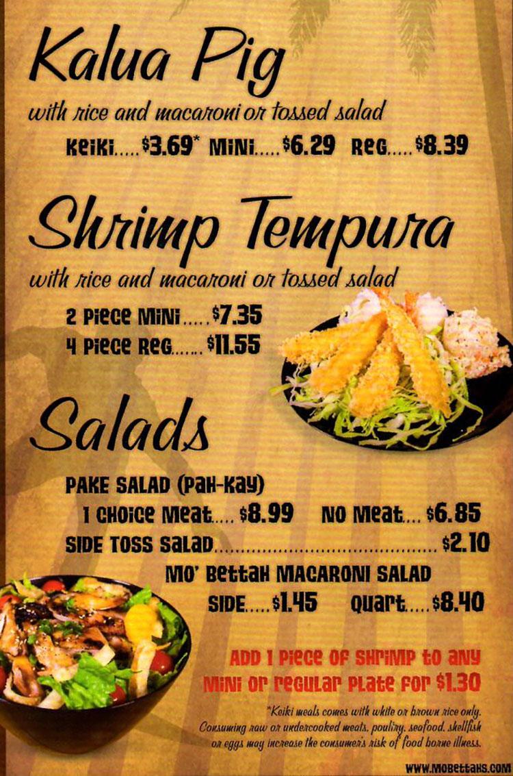 Mo Bettahs menu - kalua pig, tempura, salads