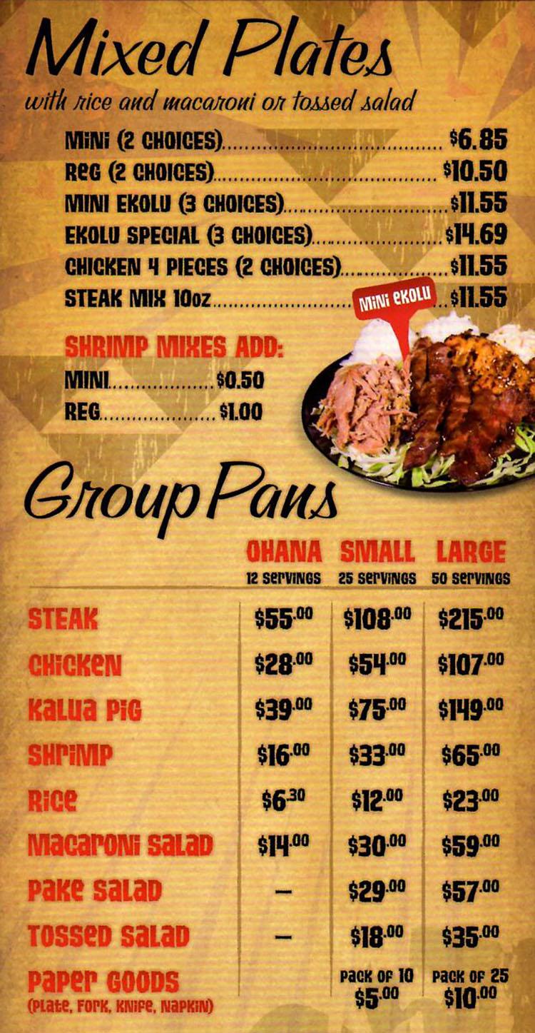 Mo Bettahs menu - mixed plates, group pans