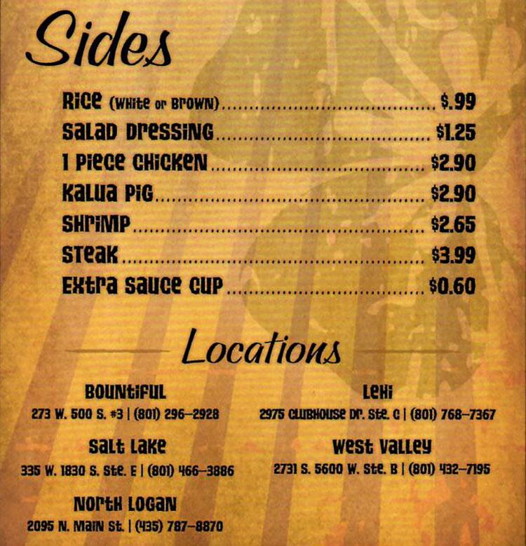 Mo Bettahs menu - sides