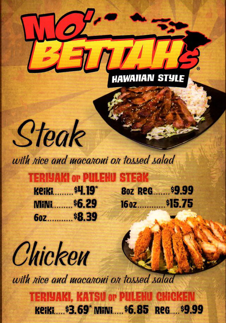 Mo Bettahs menu - steak, chicken