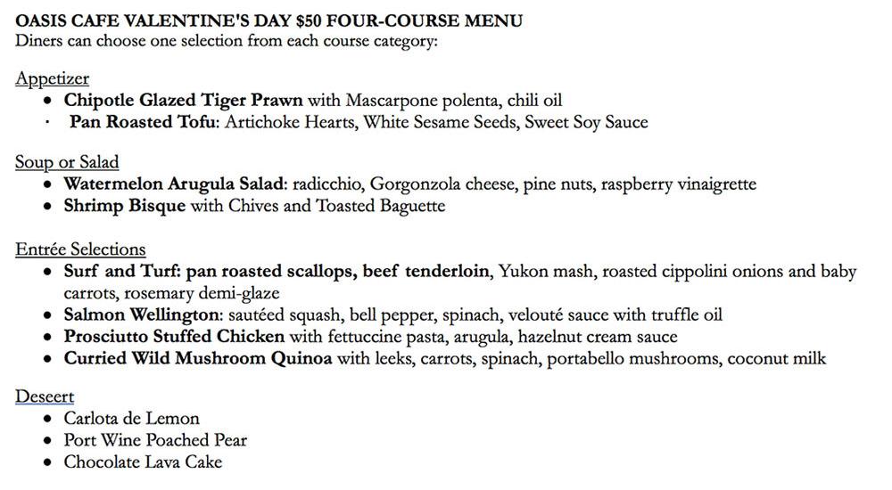 Oasis Cafe Valentines Day 2018 menu