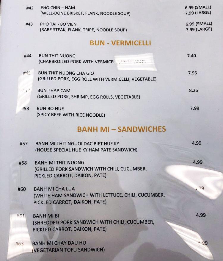 Pho Hue Ky menu - bun, banh mi