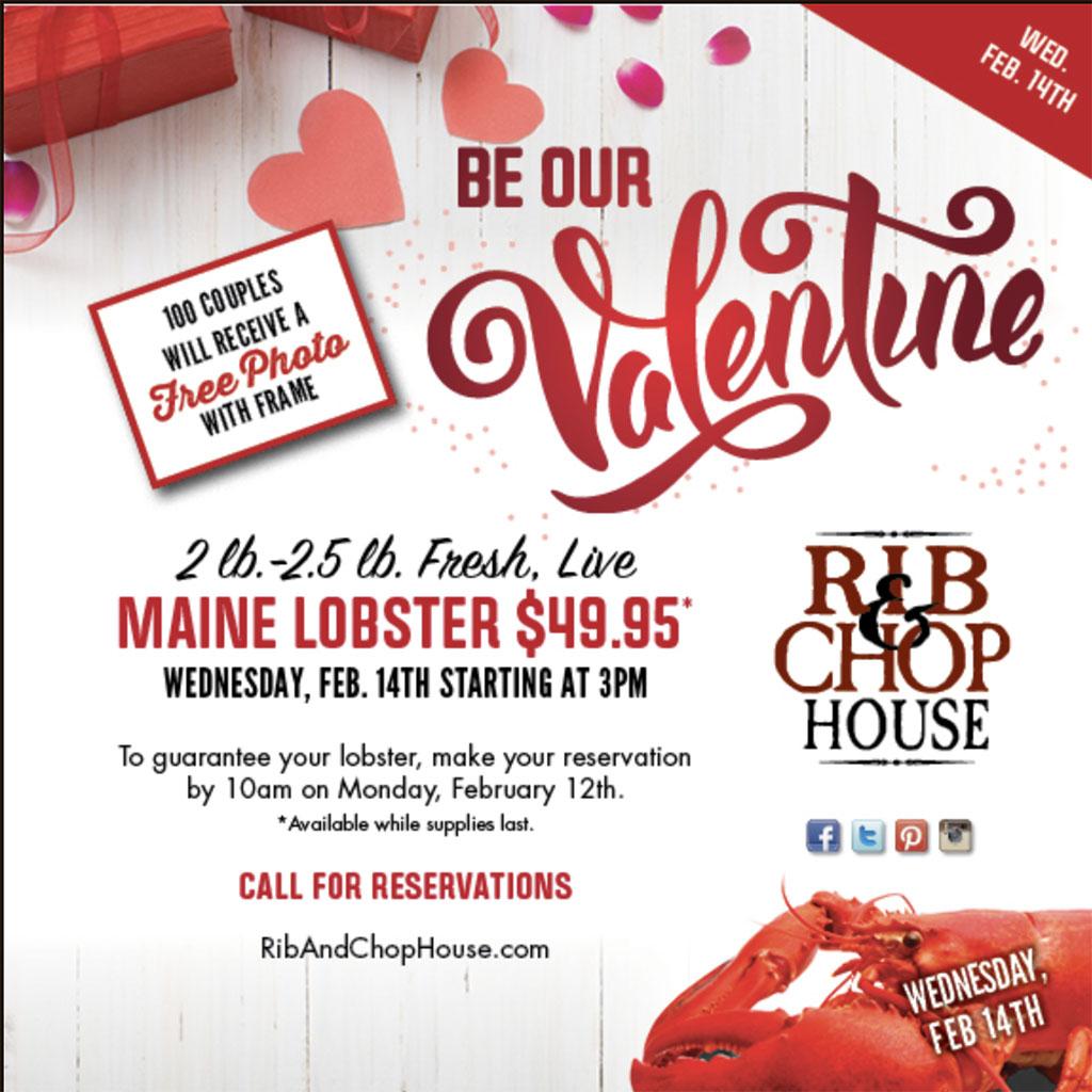 Rib And Chop House Valentines 2018 menu