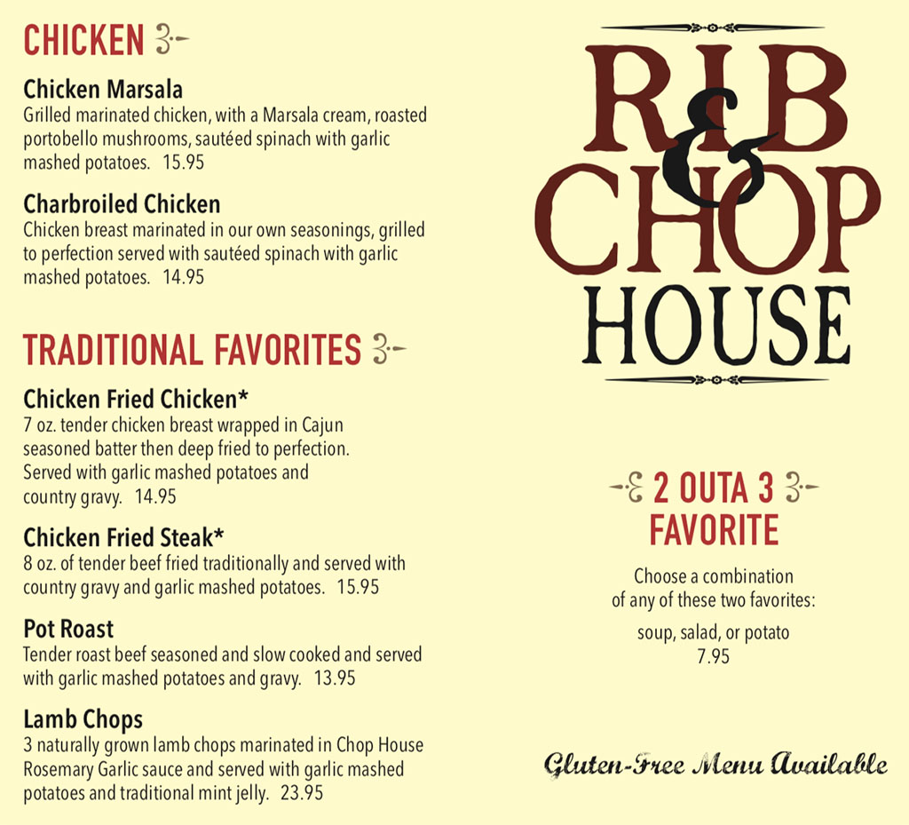 Rib And Chop House menu - chicken and favorites