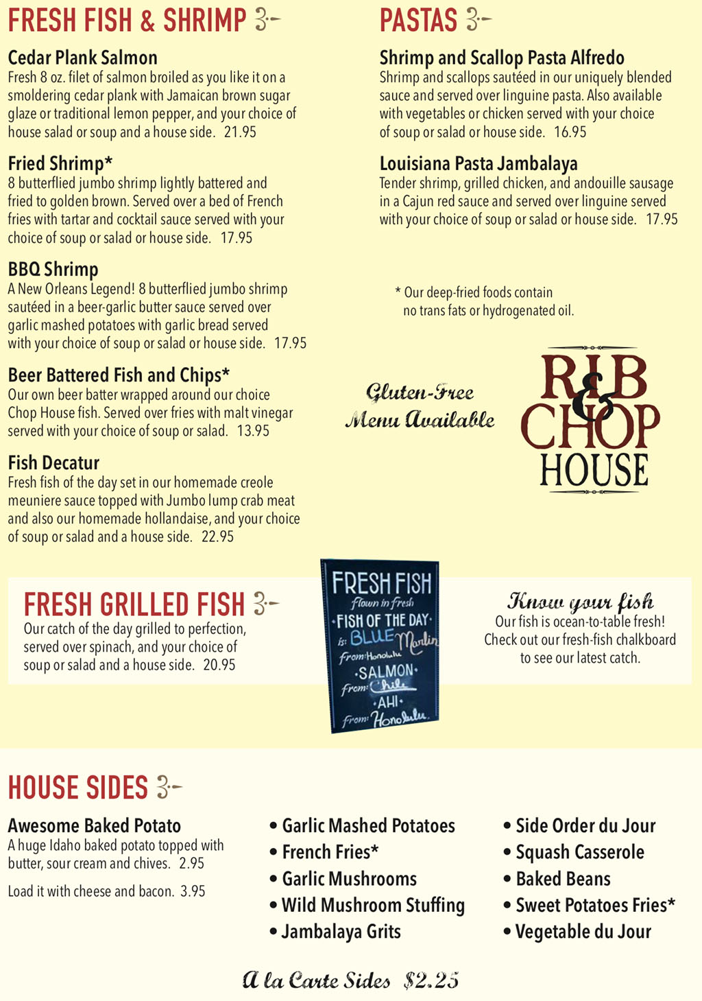 Rib And Chop House menu - fish, shrimp,pasta, sides