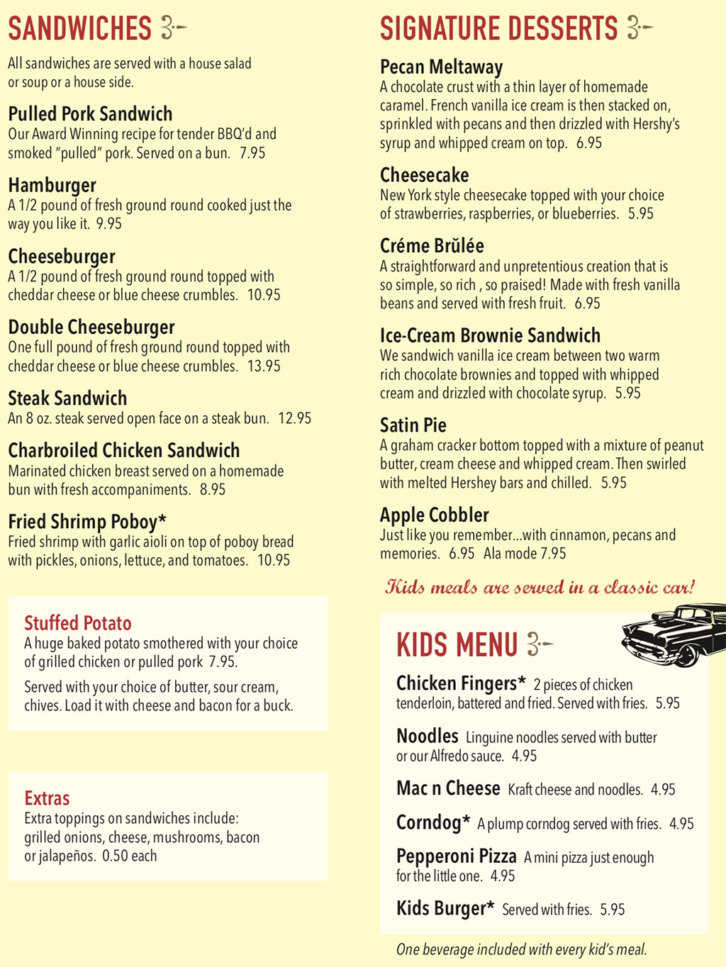 Rib And Chop House menu - sandwiches, desserts, kids menu