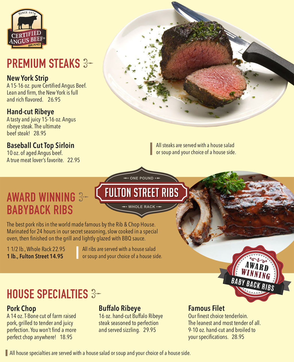 Rib And Chop House menu - steaks, ribs, specialties
