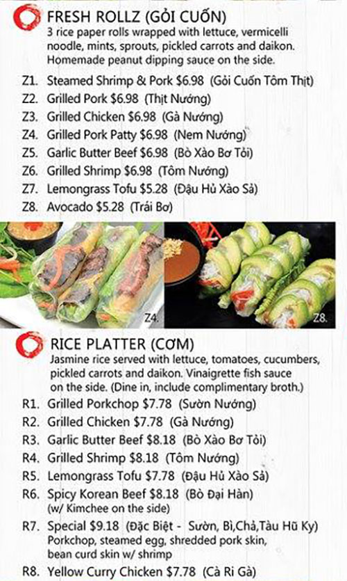 Rollz and bowls menu - fresh rolls, rice platters