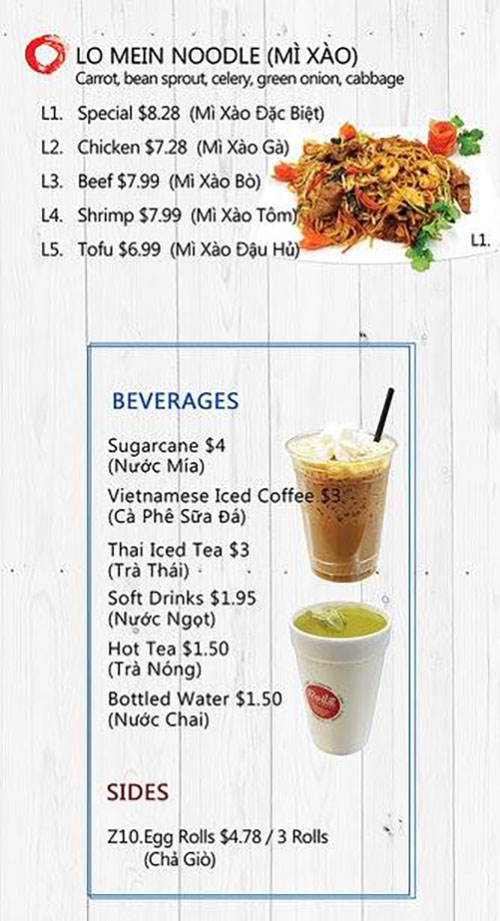 Rollz and bowls menu - lo mein noodles, beverages