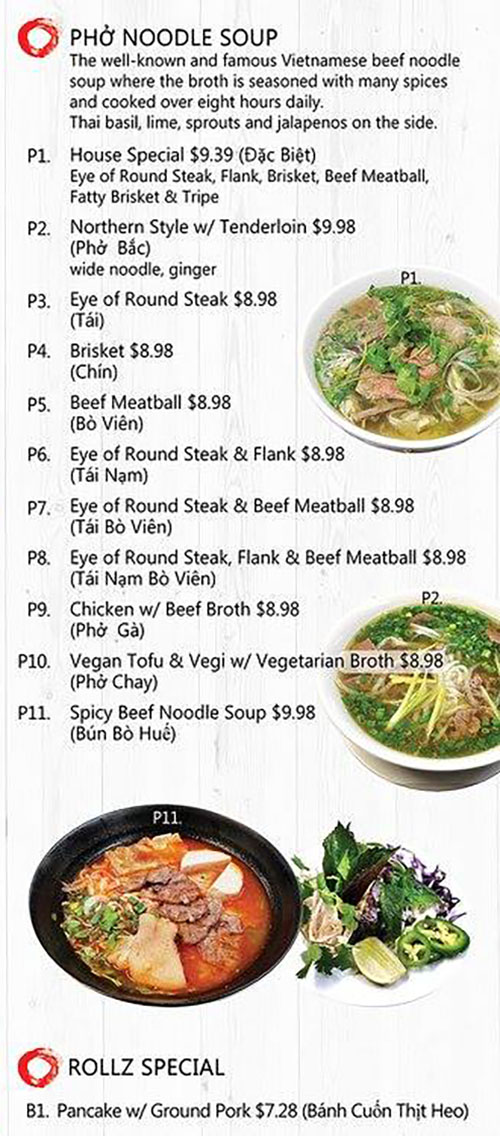 Rollz and bowls menu - pho, rollz specials