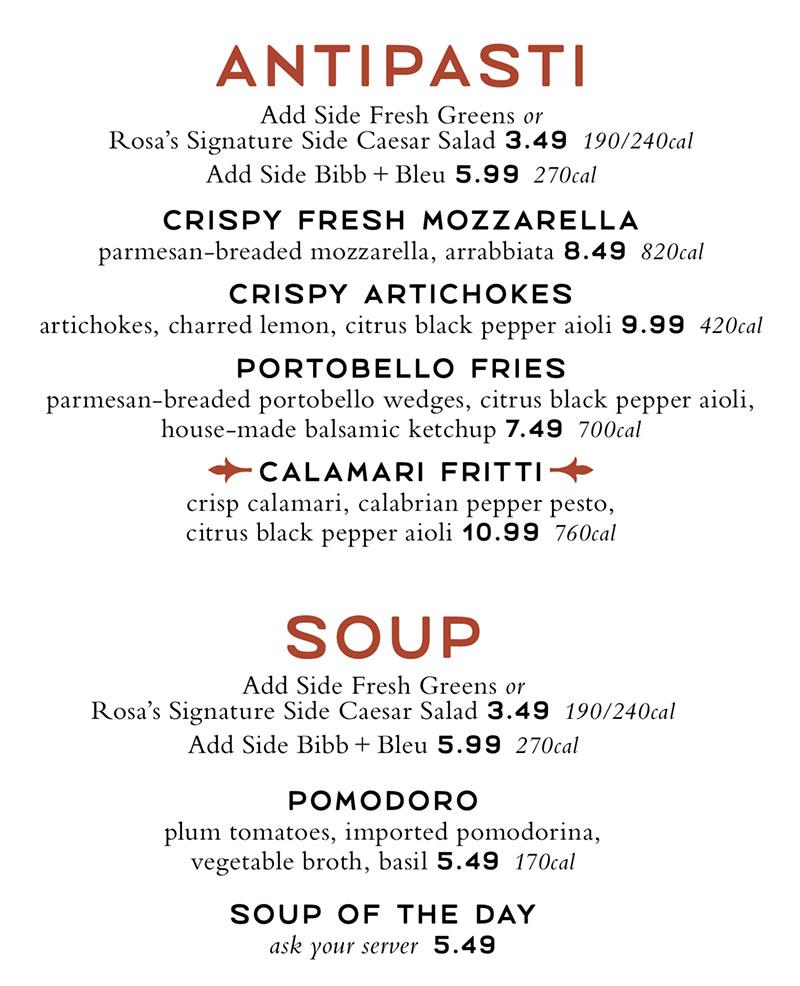 Romanos Macaroni Grill menu - antipasti, soup