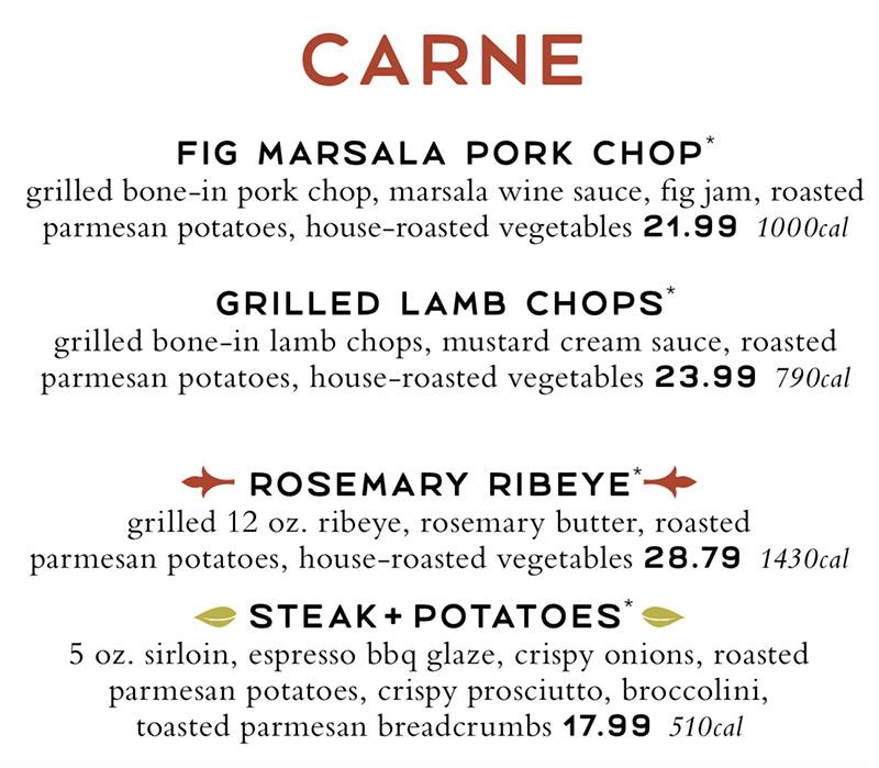 Romanos Macaroni Grill menu - meat entrees