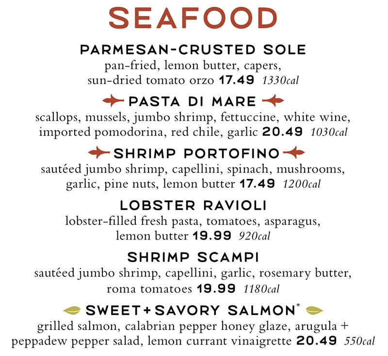 Romanos Macaroni Grill menu - seafood entrees