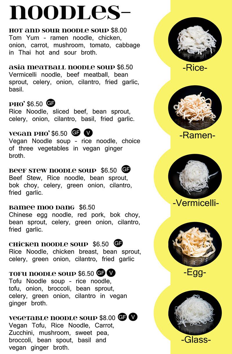 Siam Noodle Bar menu - noodles
