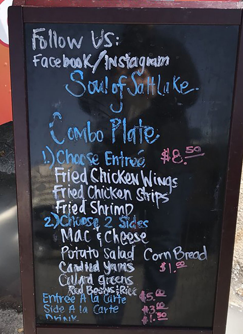 Soul Of Salt Lake food truck menu