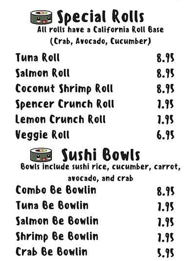 Sushi Be Rollin food truck menu - sushi rolls, sushi bowls