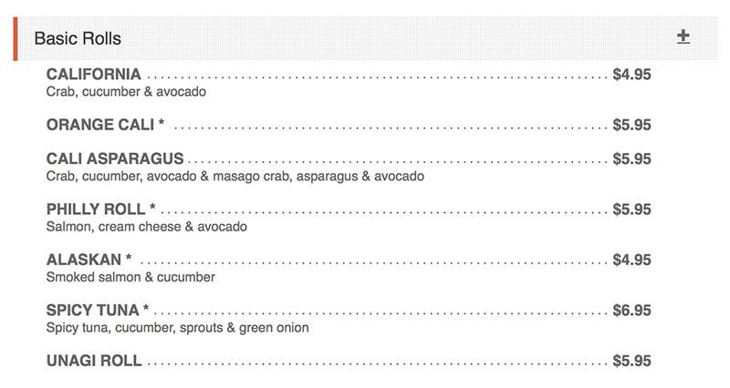 Sushi Groove menu - basic rolls