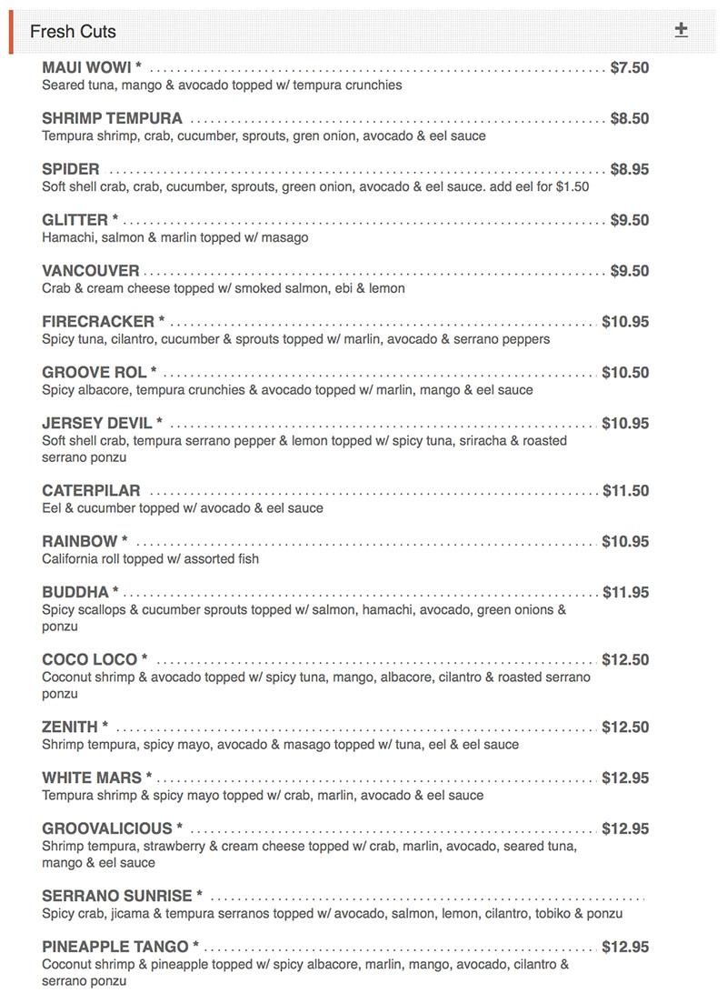 Sushi Groove menu - creative maki rolls
