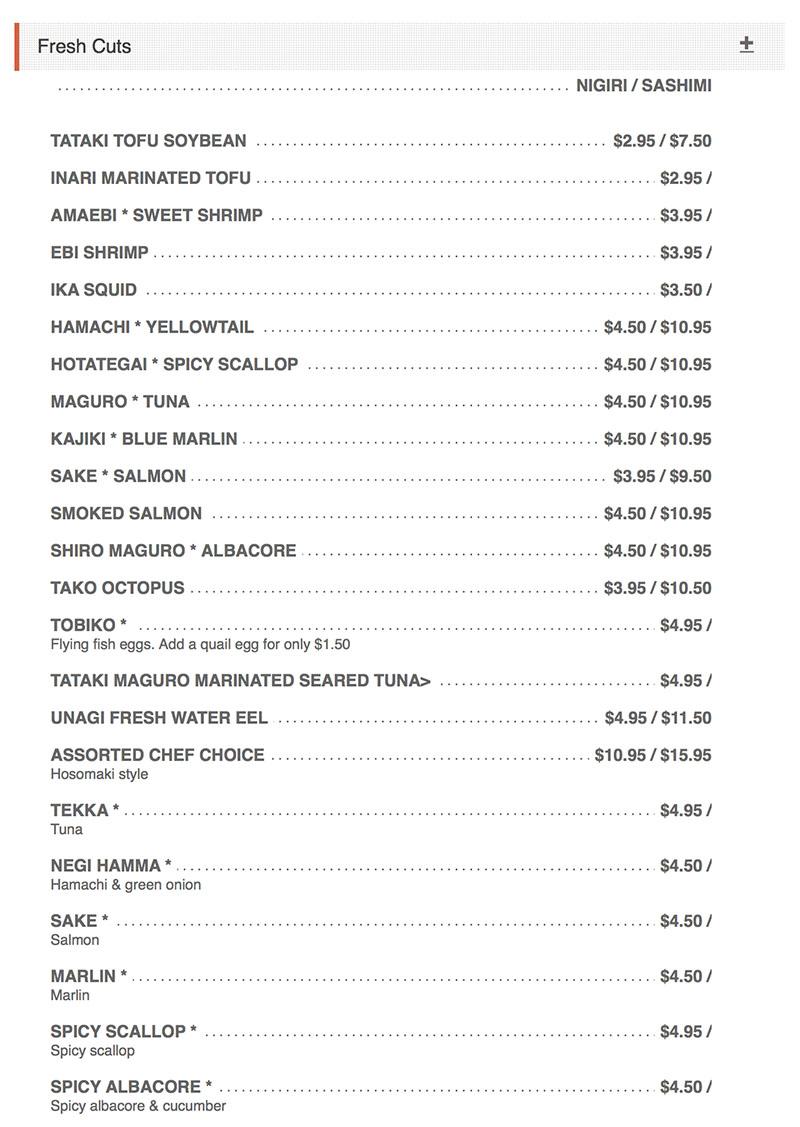 Sushi Groove menu - nigiri, sashimi