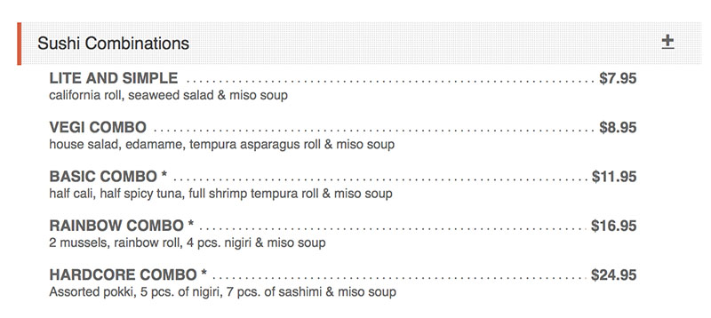 Sushi Groove menu - sushi combinations